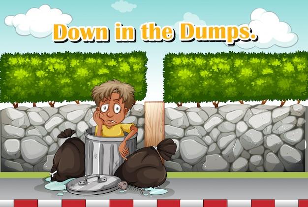 Redewendung für down in the dumps