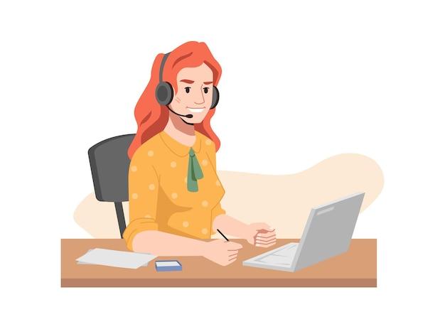 Redhead operator in kopfhörer call center arbeiter sitzt am tisch mit computerfrau in
