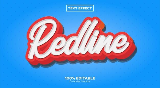 Redline-texteffekt isoliert auf blau