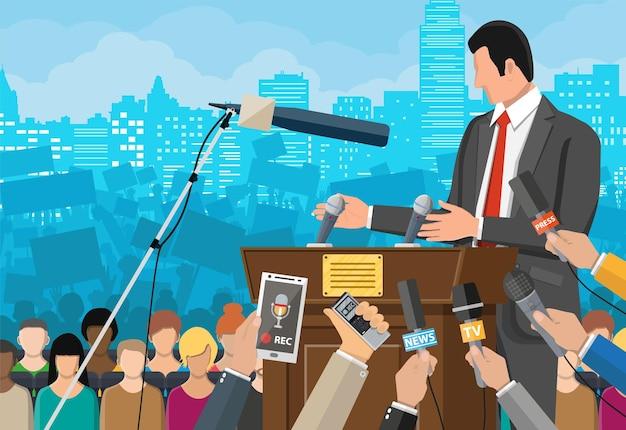 Redner. podium, tribüne und hände von journalisten mit mikrofonen und digitalen diktiergeräten. pressekonferenzkonzept, nachrichten, medien, journalismus. vektorillustration im flachen stil