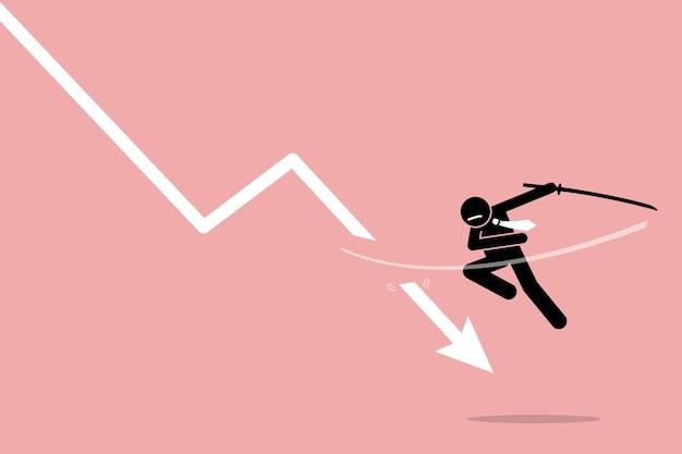 Reduzieren sie den verlust durch anleger oder händler. artwork zeigt die börsenstrategie, indem verluste gestoppt werden.