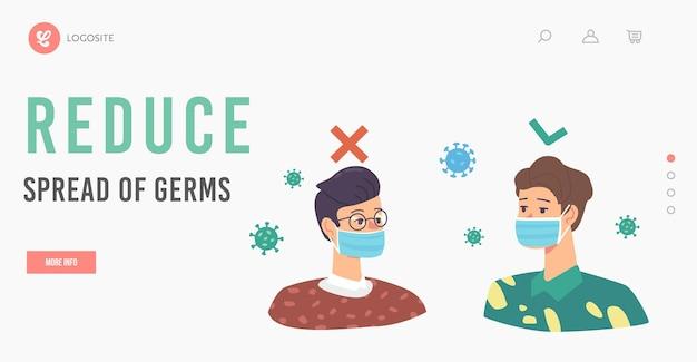 Reduzieren sie die verbreitung von keimen zielseitenvorlage. falsche und richtige art, eine schützende gesichtsmaske zu tragen. männliche charaktere, die sich vor herumfliegenden coronavirus-zellen schützen. cartoon-menschen-vektor-illustration