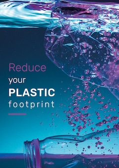 Reduzieren sie ihre postervorlage mit plastikfußabdruck
