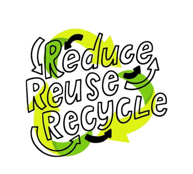 Reduzieren, wiederverwenden, recyceln sie die beschriftung mit grünen zirkulationspfeilen, recycelbares verpackungskonzept. garbage transformation process logo für poster, banner, flyer oder broschüren. flache vektorillustration der karikatur