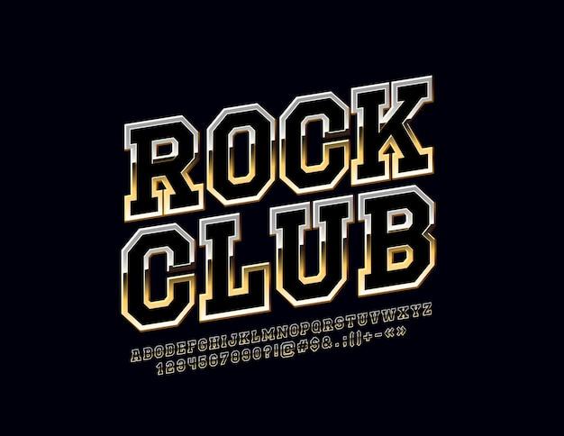 Reflektierendes logo mit text rock club glossy satz alphabetbuchstaben zahlen und symbole gedrehte metallschrift
