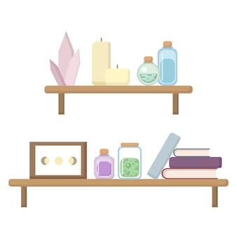 Regal mit boho-artikeln. bücher, kristalle, kerzen, gläser auf den regalen modernes hexenbild. moderner hexenarbeitsplatz in der flachen illustration der pastellfarben.