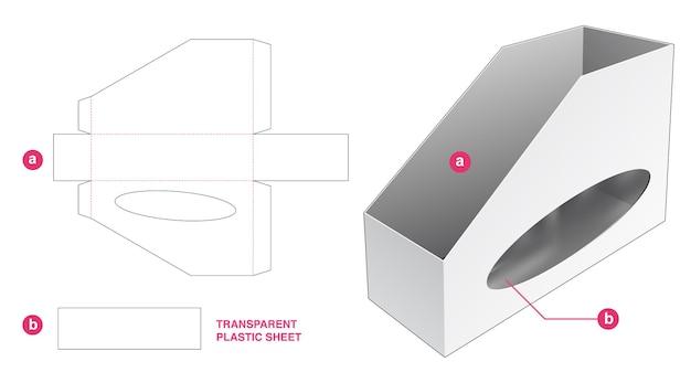 Regalbox aus wellpappe und ellipsenfenster mit stanzschablone aus transparenter kunststofffolie