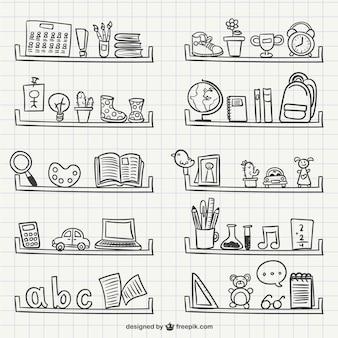 Regale mit objekten kritzeleien