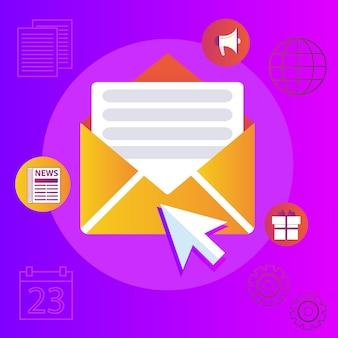 Regelmäßig verteilte veröffentlichung von nachrichten per e-mail mit einigen themen, die die abonnenten interessieren.