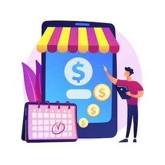 Regelmäßige überweisung, bargeldtransaktion, geplante zahlung. online-banking, überweisung, persönliche kontoverwaltung. geldadresse zeichentrickfigur