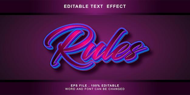 Regeln für bearbeitbare texteffekte