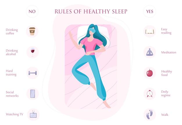 Regeln für einen guten gesunden schlaf in der nacht. liste der ratschläge