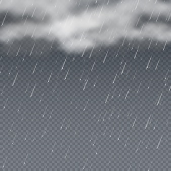 Regen 3d mit fallenden wassertropfen und grauen sturmwolken. regentropfenwetterhintergrund, regenspritzenschauer