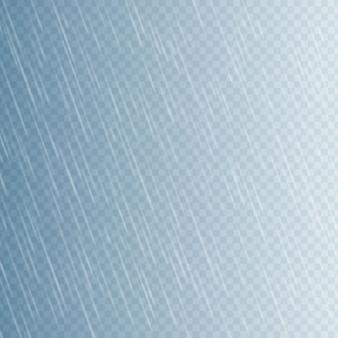 Regen fällt auf transparentem hintergrund. fallendes wasser fällt. naturniederschlag.