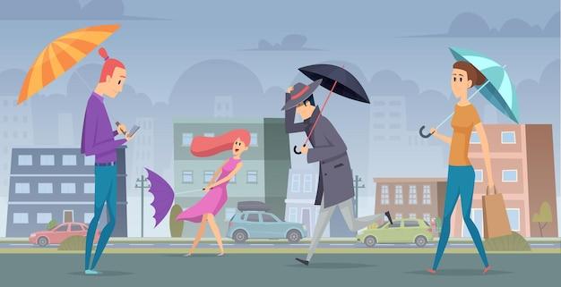 Regen in der stadt. leute, die mit regenschirm im städtischen landschaftsvektorhintergrund-saisonales konzept gehen. illustration sturmstadt, naturwetter im freien