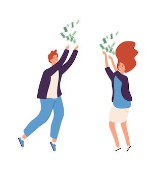 Regen von bargeld. menschen freuen sich über reichtum, mann und frau glückliche charaktere. unerwarteter gewinn, große rendite-vektor-illustration. frau und mann mit dollarbargeld, erfolgreicher geschäftsmann