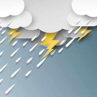 Regen, wolke und beleuchtung papierkunststil.