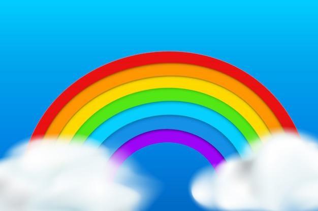 Regenbogen auf blauem hintergrund