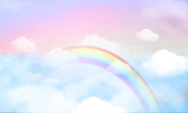 Regenbogen auf himmelhintergrund und pastellfarbe.