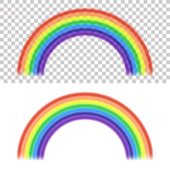 Regenbogen auf transparentem und weißem hintergrund