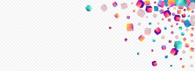 Regenbogen-block-vektor-panorama-transparenter hintergrund. helle 3d-würfel-broschüre. abstraktes polygon-muster. mehrfarbige konfetti-stil-abdeckung.