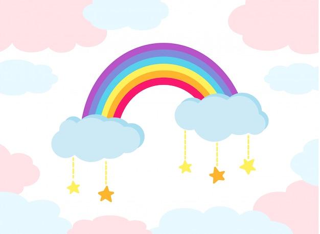Regenbogen bunte flache karikaturkinder