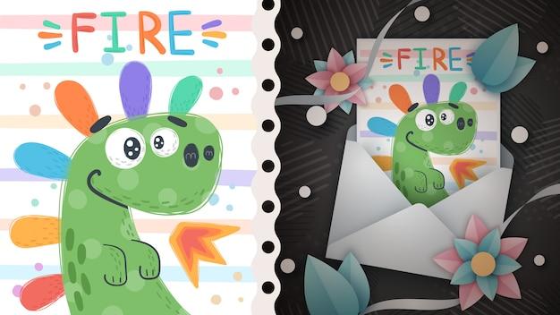 Regenbogen dino - idee für grußkarte.