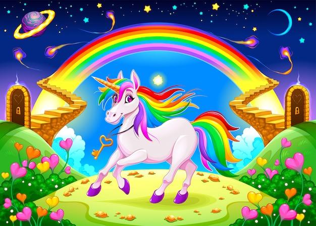 Regenbogen-einhorn in einer fantasielandschaft