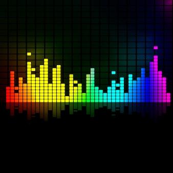 Regenbogen-equalizer mit reflexion. vektorhintergrund