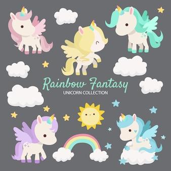 Regenbogen-fantasie-einhorn-charaktere