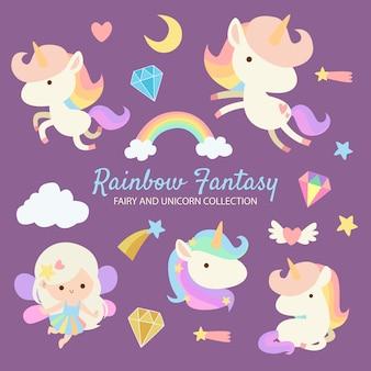 Regenbogen-fantasie-fee-einhorn