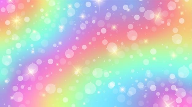Regenbogen-fantasy-hintergrund holographische niedliche cartoon-girly-muster sterne und bokeh