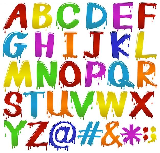 Regenbogen farbige große buchstaben des alphabets auf einem weißen hintergrund
