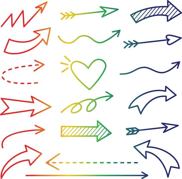 Regenbogen farbverlauf linie pfeil-icon-set