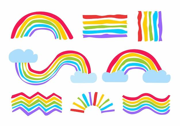 Regenbogen handgezeichnetes set