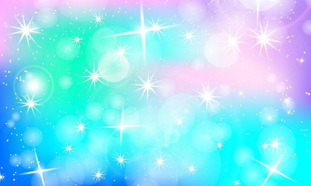 Regenbogen-hintergrund. einhorn-bunte kulisse. holographischer himmel in pastellfarben. einhorn-muster in prinzessin-farben. vektor-illustration. einhorn-regenbogen-hintergrund.