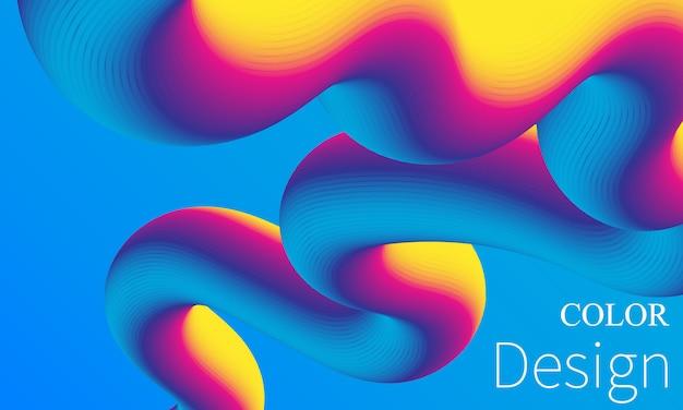 Regenbogen hintergrund. flüssigkeitsformen. wellenmuster. sommerplakat. bunter farbverlauf. fließform. abstraktes cover. regenbogenfarbe. illustration. flüssigkeitsströmung.