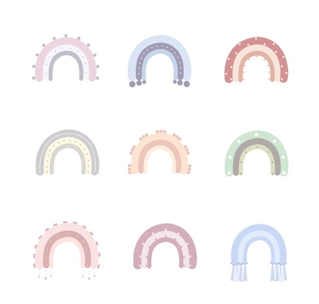 Regenbogen im boho-stil in verschiedenen farben. regenbogen mit wolken, sonne, sternen und herzen.