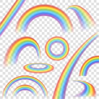 Regenbogen in realistischem satz der unterschiedlichen form auf transparenten hintergrund