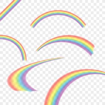 Regenbogen in unterschiedlicher form realistisch auf transparent gesetzt