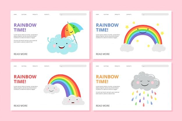Regenbogen-landingpage. stolz web banner mit niedlichen comicfiguren