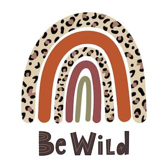 Regenbogen-leopard und hand schriftzug be wild vector illustration doodle cartoon-stil