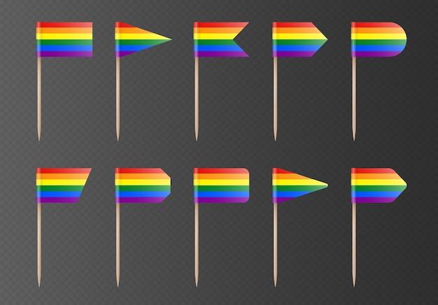 Regenbogen lgbtq-zahnstocher-flags auf einem transparenten hintergrund isoliert. stolzflagge auf einem holzstab. vektor-partydekorationen-kollektion.
