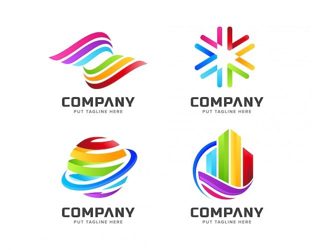 Regenbogen-logoschablone des steigungsgeschäfts bunte mit abstrakter form