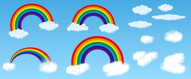 Regenbogen mit blauem himmel oder bunter regenbogen mit wolkenkonzept