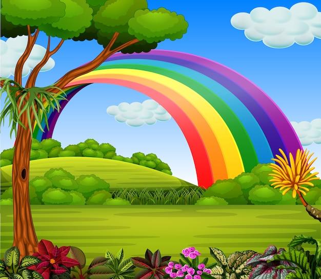 Regenbogen mit blick auf den garten