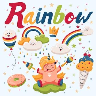Regenbogen mit glücklichen wolken