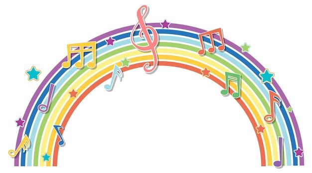Regenbogen mit musikmelodiesymbolen