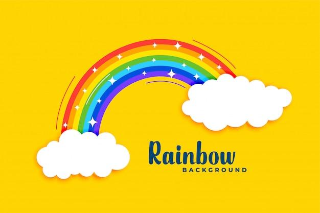 Regenbogen mit wolken auf gelbem grund