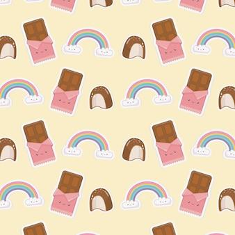Regenbogen mit wolken kawaii charakteren und schokoladenstangenmuster